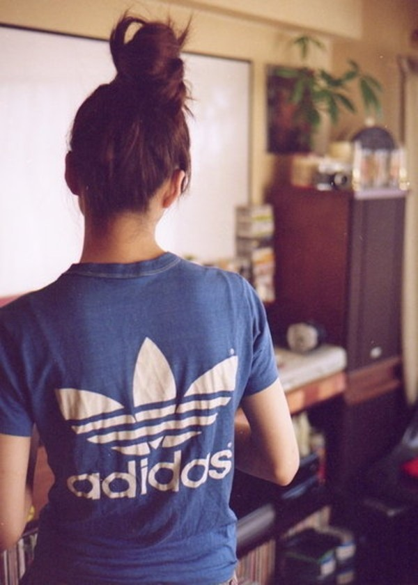 t-shirt adidas blue t-shirt messy bun cute