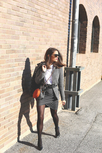 seams for a desire blogger grey skirt draped waist belt cardigan grey office outfits classy coat shirt skirt belt shoes bag sunglasses