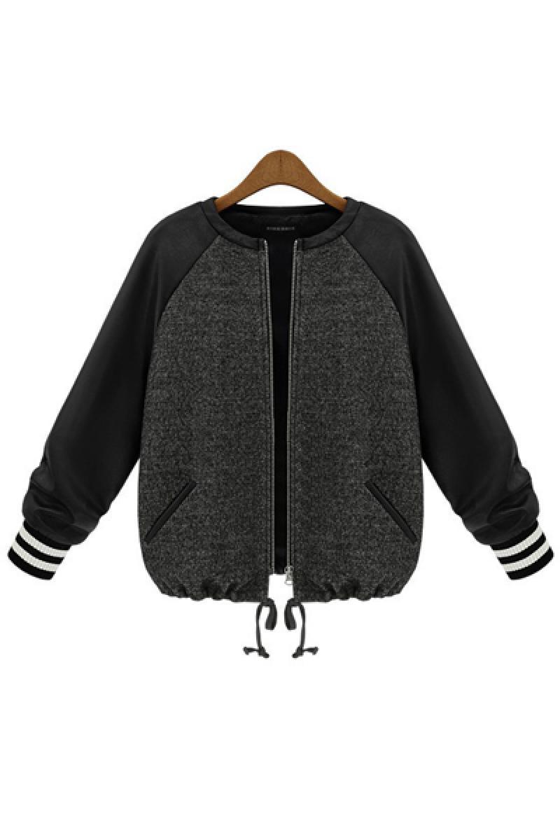 2013 New Zipper Long Sleeve Crewneck PU Short Overcoat,Cheap in Wendybox.com