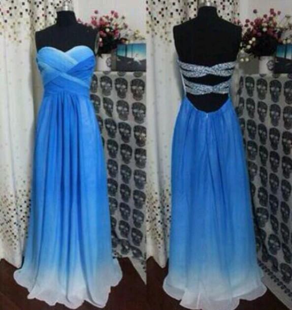 blue prom dress prom dress strapless dress open back prom dress