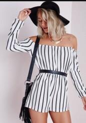 romper,black,white,stripes,long sleeves,short,off the shoulder
