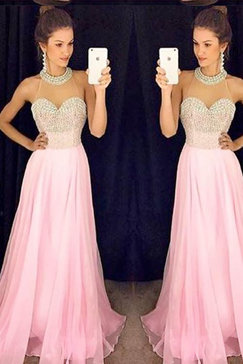 Baby Pink High Collar Prom Dresses Sleeve 2016 Sheer Neck Pearls ...