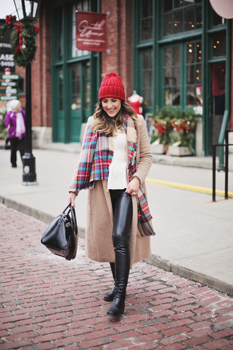 stephanie sterjovski - life + style blogger hat coat bag shoes scarf winter outfits beanie tartan scarf handbag leather pants beige coat