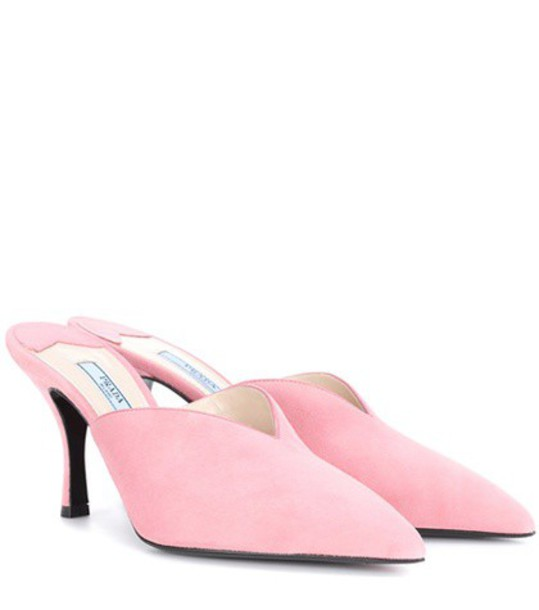 Prada mules suede pink shoes