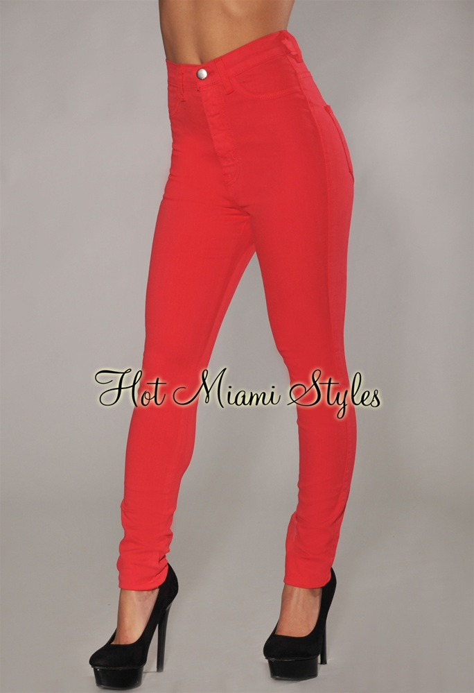 Red High Waisted Skinny Jeans - Jon Jean
