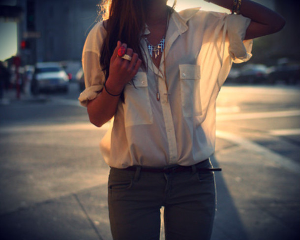 Blouse White Shirt Rolled Up Tumblr Sheer Button Up Pockets Pretty - Wheretoget