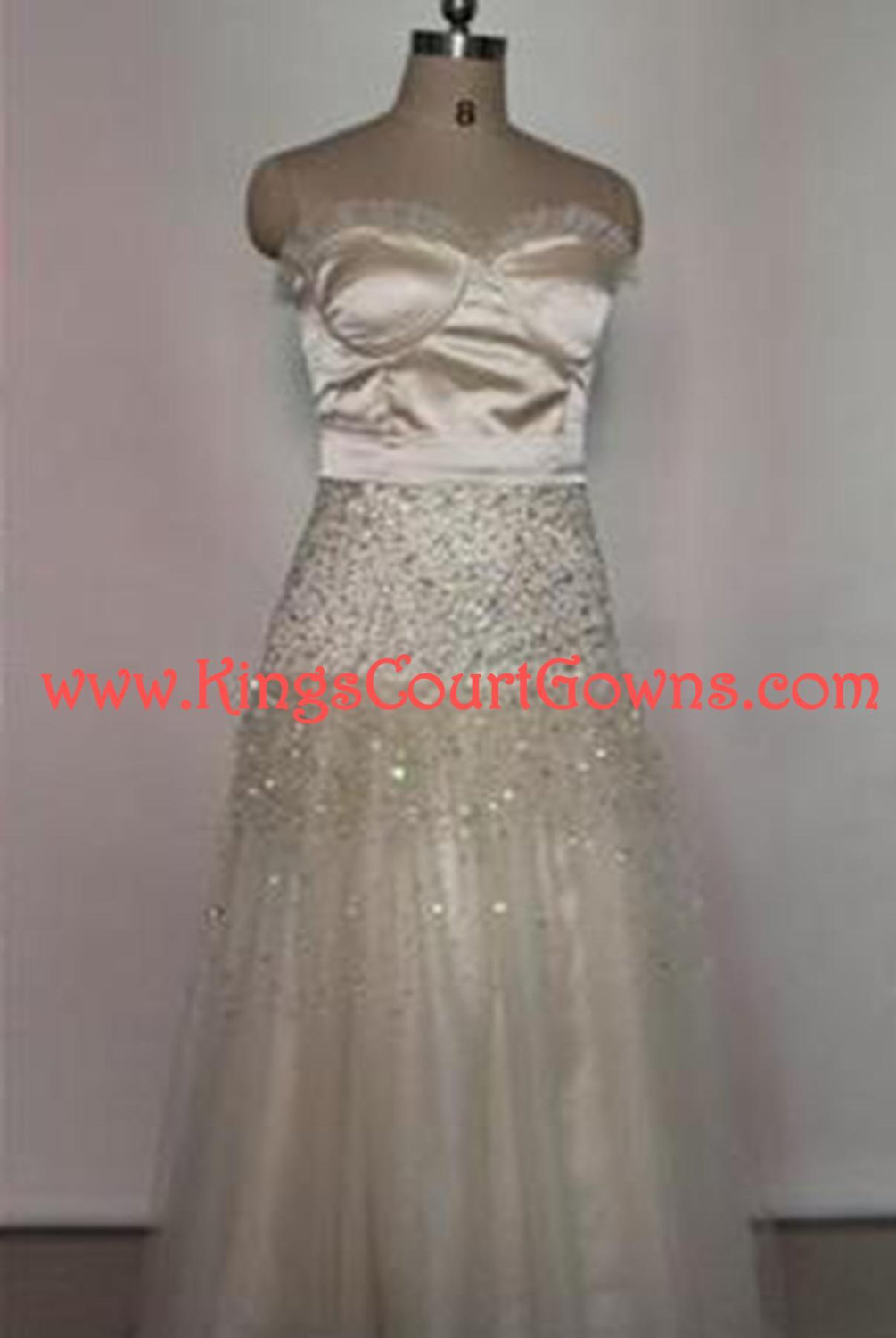 Replica champagne satin and tulle beaded ruffle prom evening pageant dress gown