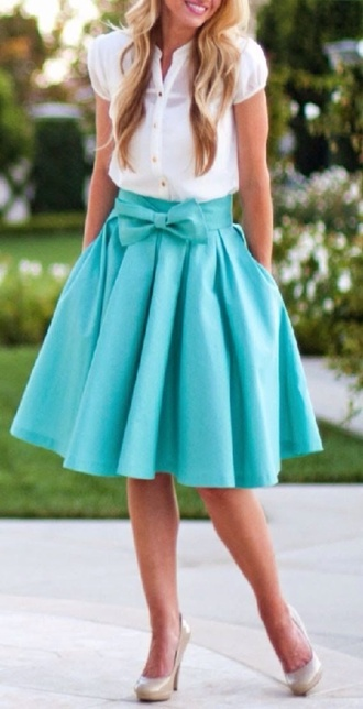 skirt teal bow