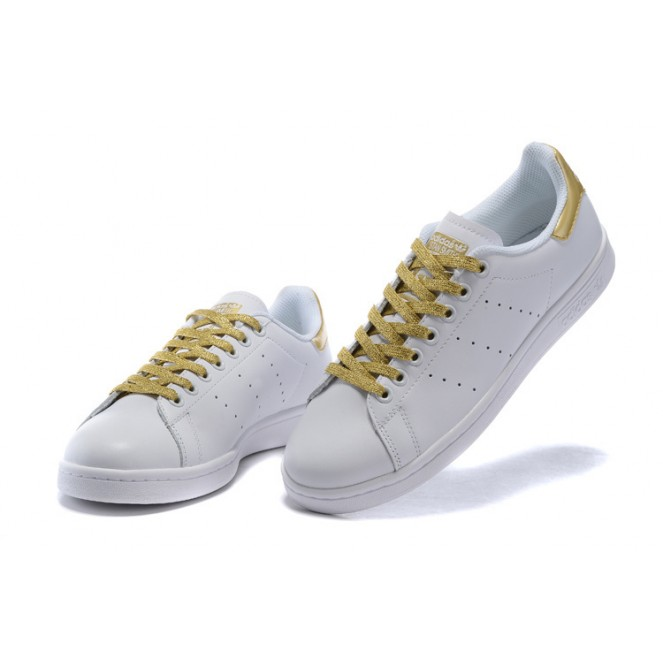 Adidas Stan Smith Gold lace Shoes White sale online