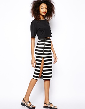 Vero Moda | Vero Moda Wide Stripe Zip Skirt at ASOS