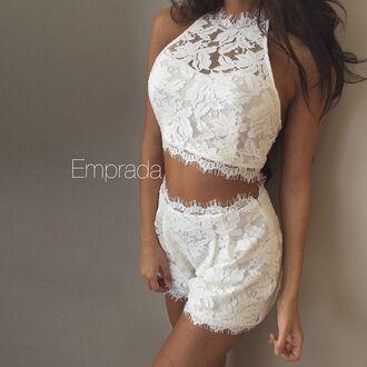 dress set two-piece white lace set white lace romper white lace dress white lace shorts and top white lace lace lace dress summer dress