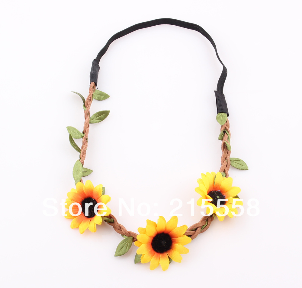 Bohemia Holiday Sunflower Headband Garland Sun Flower Floral Hair Band Wreath Ornament Free Shipping ZH14-in Hair Jewelry from Jewelry on Aliexpress.com