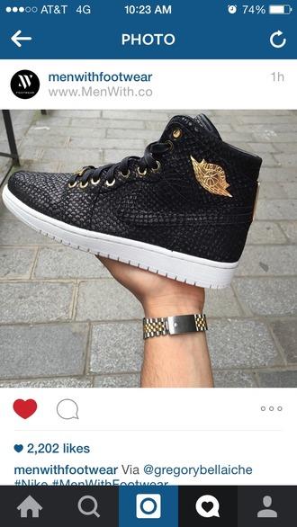 shoes airjordan black shoes black gold hightop hightops