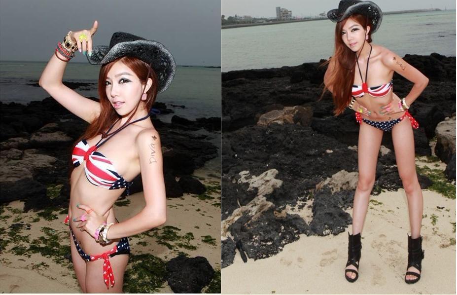 Newhalter strap dark blue british flag swimsuit swimwear strapless padded bikini