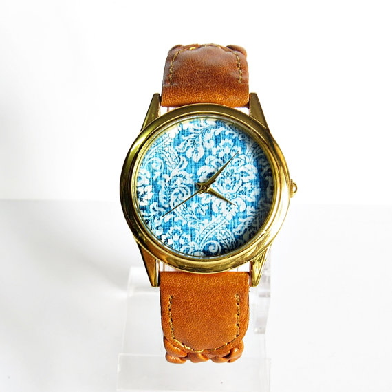 Perfect Denim Watch, Vintage Style Leather Watch, Women Watches, Ladies Watch, Blue Denim Genuine Braided Leather
