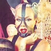 hair accessory,face harness,raja gemini,faux leather,drag