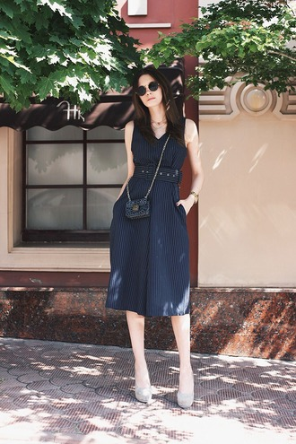 oh my blog blogger romper shoes bag sunglasses jewels round sunglasses midi dress striped dress blue dress crossbody bag mini bag belted dress pumps platform pumps grey pumps pocket dress