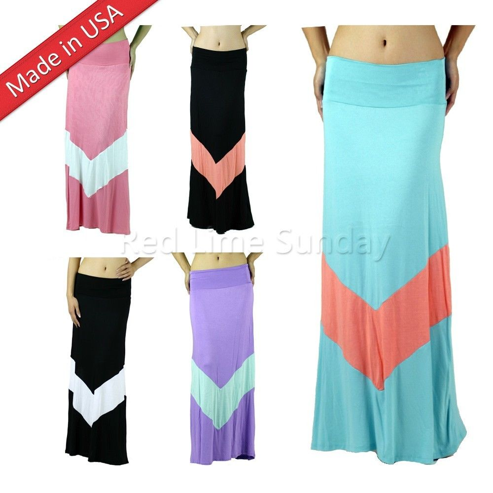 New Color Block Chevron Zigzag Striped Fold Over Wide Waistband Long Maxi Skirt