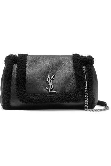 SAINT LAURENT - Nolita Medium Textured-leather And Shearling Shoulder Bag - Black - Nolita Medium Textured-leather And Shearling Shoulder Bag