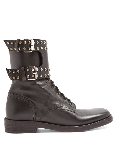 leather ankle boots embellished ankle boots leather black shoes
