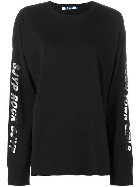 Sjyp sweatshirt women cotton black sweater