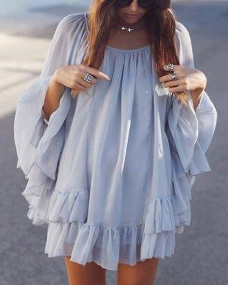top ruffle grey flowy cute summer fashion style dress chiffon long sleeves girly