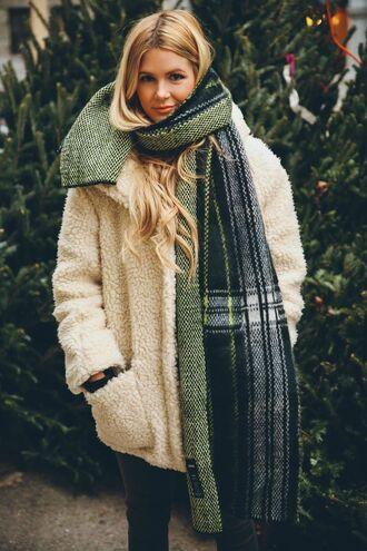 coat goldie topshop fuzzy coat winter coat beige coat teddy bear coat fluffy white fluffy coat scarf tartan scarf tartan plaid white oversized coat