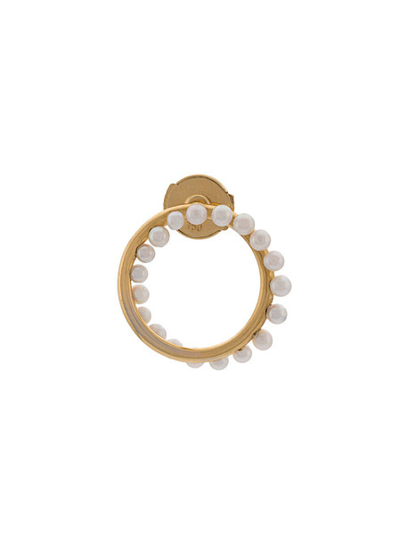 Yvonne Léon women pearl gold yellow grey metallic jewels
