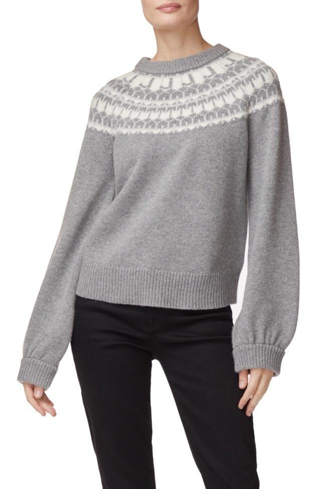 Harriet Fair Isle Sweater In Heather Grey Merino Wool/Cashmere Blend