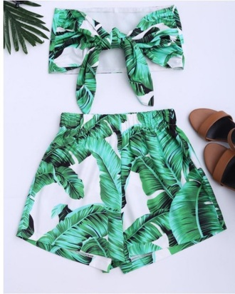 romper girly green leaf print two-piece short shorts crop tops crop cropped off the shoulder off the shoulder top