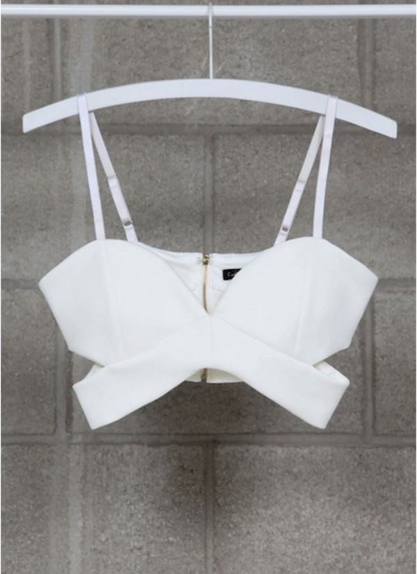 tank top white bralette crop tops cut out sides