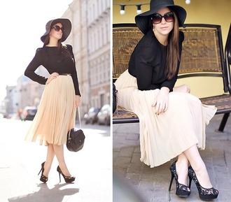 skirt cream pleated midi skirt