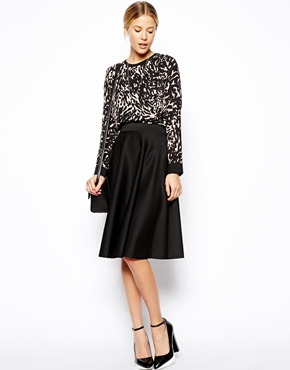 ASOS | ASOS Full Midi Skirt In Scuba With Pockets at ASOS