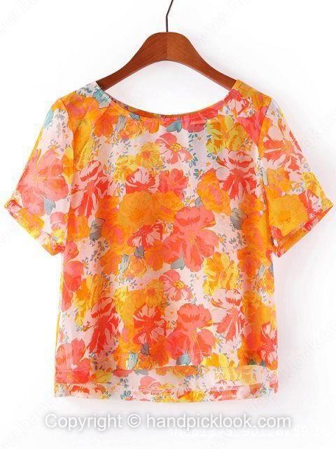 Orange Round Neck Short Sleeve Floral Print Chiffon Blouse - HandpickLook.com