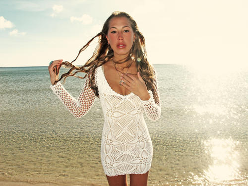 emmaoclothing - Handmade crochet long sleeve dress WHITE