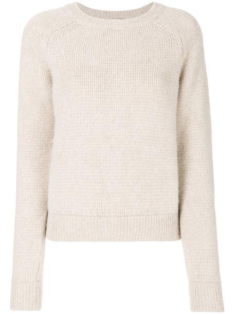 Saint Laurent - crew neck jumper - women - Wool - M, Nude/Neutrals, Wool