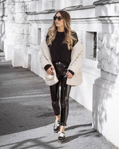 coat,tumblr,white coat,fuzzy coat,teddy bear coat,pants,black pants,vinyl,black vinyl pants,shoes,sweater,black sweater,knit,knitwear,knitted sweater,sunglasses