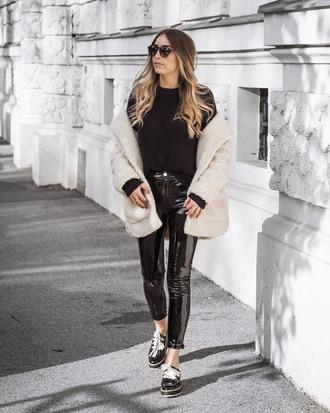 coat tumblr white coat fuzzy coat teddy bear coat pants black pants vinyl black vinyl pants shoes sweater black sweater knit knitwear knitted sweater sunglasses