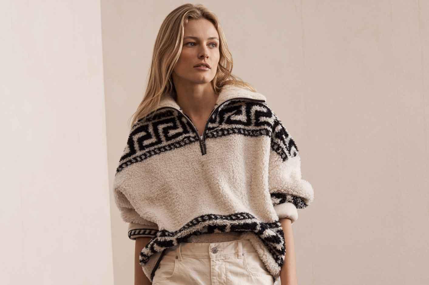 Stretch cotton knit wide-leg pants