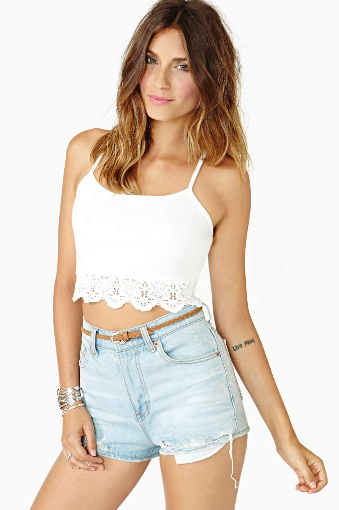 Gemini Lace Crop Tank Ivory Shop Cropped At Nasty Gal