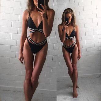 swimwear zaful strappy black quote on it fashion celebrity style instagram sexy