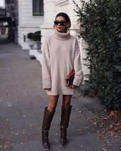 dress,sweater dress,turtleneck dress,knee high boots,fendi,clutch,sunglasses