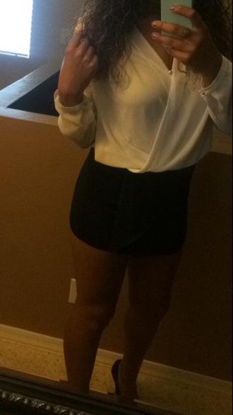blouse shirt shorts skirt outfit cute skirts cute shirt nightout black skirt white shirt