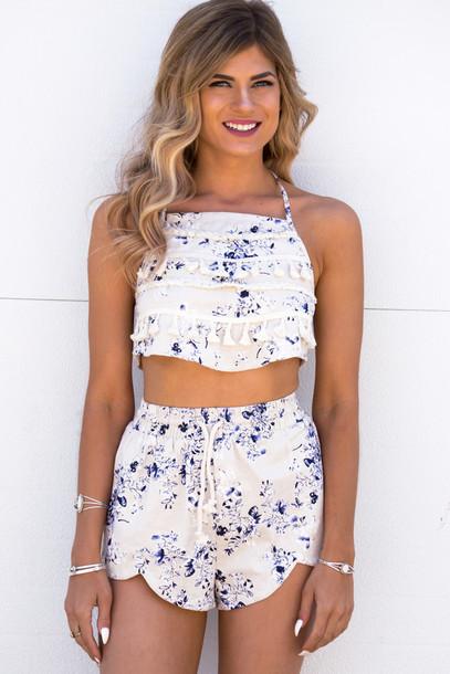 4c124489015b romper set tassel shorts short shorts crop tops cropped halter top open  back style fashion summer