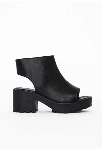 Ashlie Peep Toe Chunky Boots - Footwear - Missguided