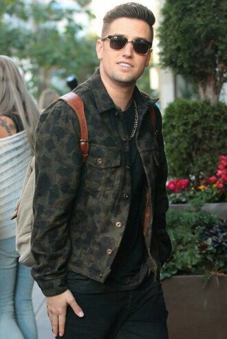 shirt camoflage button up logan henderson btr designer menswear camouflage mens jacket