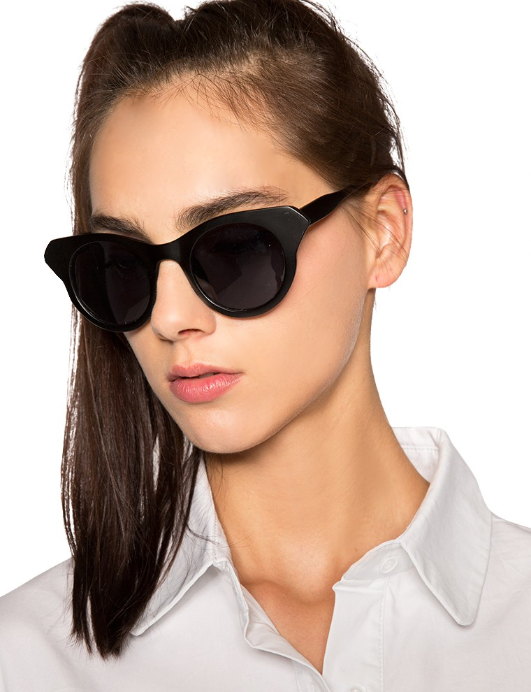 Matte black cat eye sunglasses