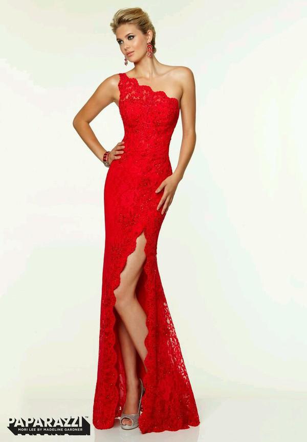 dress prom dress formal dress red dress one shoulder dress slit dress