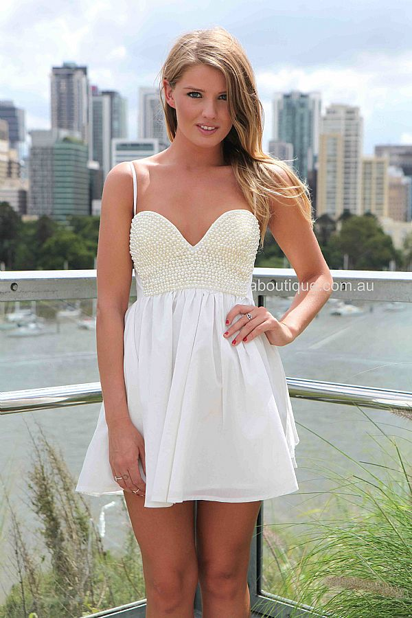PEARL BUST DRESS , DRESSES, TOPS, BOTTOMS, JACKETS & JUMPERS, ACCESSORIES, 50% OFF SALE, PRE ORDER, NEW ARRIVALS, PLAYSUIT, COLOUR, GIFT VOUCHER,,White,SLEEVELESS Australia, Queensland, Brisbane
