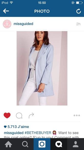 jacket missguided coat blue coat blue jacket fashion fashionista blue bleu misguided jacket